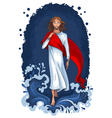 jesus walking on water vector image vector image