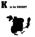 Knight cartoon silhouette vector image vector image
