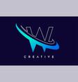 letter w logo w letter design with blue swash vector image