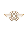 luxury car badge with wings line art logo vector image