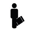 man with travel bag icon silhouette vector image