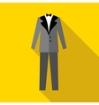 Mens wedding suit icon flat style vector image vector image