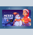 merry christmas cartoon landing with girl snowman vector image vector image