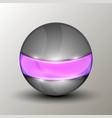 metal sphere with purple line vector image vector image
