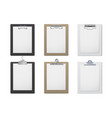 office clipboard realistic set document and paper vector image vector image