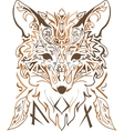 Ornamental tribal style fox silhouette vector image
