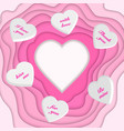 paper cut heart and 3d hearts vector image