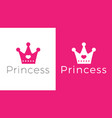 pink sign crown princess design modern logos vector image