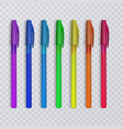 realistic pens with rainbow colors vector image vector image
