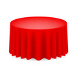Red dining table with tablecloth on white