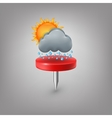 Red pin icon weather Cloud sun rain vector image