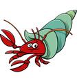 sea hermit crab cartoon vector image vector image