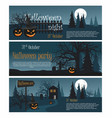 set banners halloween party vector image vector image