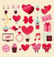 set happy valentine decoration to celebration vector image