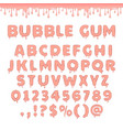 set of bubble gum letters vector image vector image