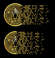 set of crypto currency eos golden symbols vector image vector image