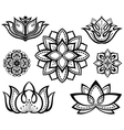 Set of decorative lotuses vector image vector image