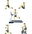 set of man in the gym vector image
