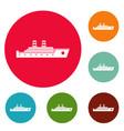 ship passenger icons circle set vector image vector image