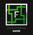 silver letter f logo symbol in the square maze vector image vector image