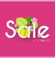spring sale colorful banner with flowers apple vector image vector image