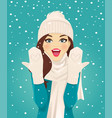 surprised woman in snowfall vector image vector image