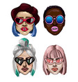 trendy fashion girls with sunglasses vector image