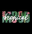 tropical mood t-shirt print with exotic plants vector image vector image