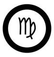 virgin symbol zodiac icon black color in round vector image