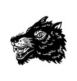 wolf head on white background design element vector image