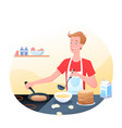 young man is cooking pancakes in kitchen morning vector image