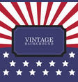 vintage rays usa flags patriotic american vector image