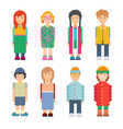 set of characters in flat design vector image