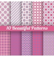 10 Beautiful seamless patterns tiling Pink purple vector image