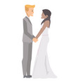 a married couple holding hands in wedding ceremony vector image vector image