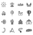 Amusement park icons set black monochrome style vector image vector image