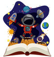 astronomy book with astronaut in space vector image vector image