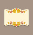 autumn card with cutout border yellow leaves vector image vector image