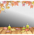 autumn leaves and candles vector image vector image