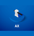 ax isometric icon isolated on color background vector image vector image