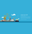 banner with tanker in a cargo seaport vector image vector image