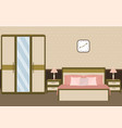 bedroom interior in pastel colors with furniture vector image vector image