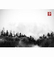 black pine trees in fog hand drawn with ink vector image vector image