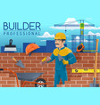 builder with bricklayer tools construction worker vector image vector image