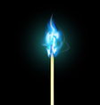 Burning match with blue flame vector image