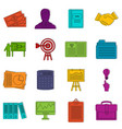 business plan icons doodle set vector image
