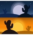 Cactus in desert banners night and sunset vector image