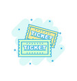 cartoon colored ticket icon in comic style admit vector image