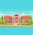 cartoon urban cityscape with college campus facade vector image vector image