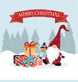 christmas card with gnome and gift boxes vector image vector image